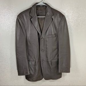 Men's Stafford Brown Leather Jacket Size Small